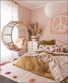 Pink & ochre bedroom with round rattan hangin chair Tween Girls Bedroom Bedroom Chair hangin Ochre Pink Rattan Cute Bedroom Ideas, Cute Room Decor, Room Ideas Bedroom, Home Bedroom, Master Bedroom, Bedroom Inspo, Swing In Bedroom, Bedroom Inspiration, Modern Bedroom
