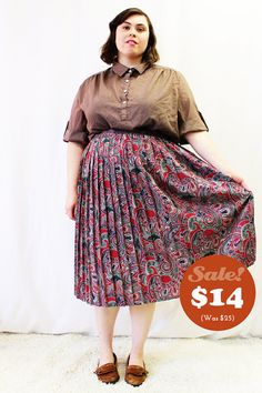 CLEARANCE Plus Size  Vintage Paisley Pleated Full by TheCurvyElle