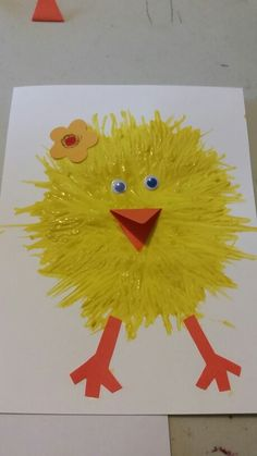 My grandson made this chickadee card for his parents for Easter using fork painting