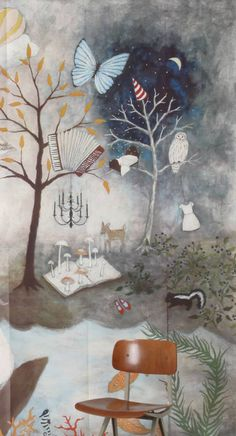 Owl motif on paper mural by Rebecca Rebouche for Anthropologie Art Deco Wallpaper, Dreamy Artwork, Painting, Whimsical Art, Rebecca Rebouche Artworks, Illustration Art, Artwork, Whimsical Paintings, Rebecca Rebouche