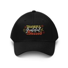 Thankful Grateful Blessed - Embroidered Twill Cap - Black / One size