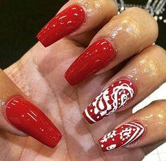 Nail designs, red acrylic nails, pointed nails, trendy nails, nails o Red Acrylic Nails, Matte Nails, Swag Nails, Pink Nails, Pointed Nail Designs, Red Nail Designs, Bandana Nails, Red Bandana, Ring Finger Nails