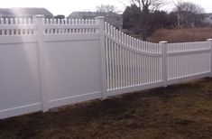 6 Foot with top transitioning to 4 Foot Picket Fence in Fairfield, CT, installed by A. Anastasio Fence Company.