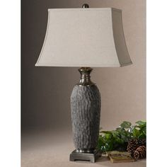 Uttermost Tricarico Rectangle Bell Shade Dusty Grey Table Lamp