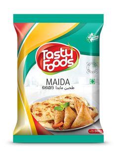 Tasty Foods Maida Pouch design by Brandz Chip Packaging, Packaging Snack, Pouch Packaging, Food Packaging Design, Packaging Design Inspiration, Bread Brands, Snack Recipes, Snacks, Packaging