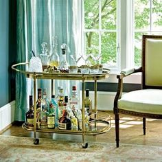 Bar cart inspiration - great brass cart