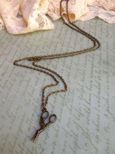 Stork Scissor Charm Necklace  Antique Brass  by adieslovelies, $14.99