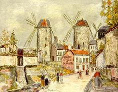 Windmills of Montmartre : Maurice Utrillo : Post Impressionism : cityscape - Oil Painting Reproductions Georges Seurat, Paris Kunst, Pierre Auguste Renoir, Art Parisien, Maurice Utrillo, Paris Painting, Amedeo Modigliani, Art Database, Paintings I Love