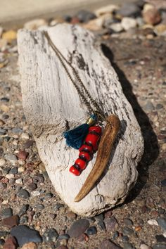Antler Tip and Red Tree Coral Necklace with by TheFreezingSquirrel