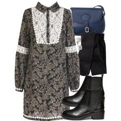 """""""Allison Inspired Outfit with Requested Boots"""" by veterization on Polyvore Grey Long Sleeve Dress, Dress Long, Bohemian Lace Dress, Retro Vintage Dresses, Geek Fashion, Applique Dress, Cute Dresses, New Dress, Clothes"""