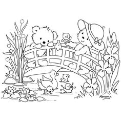 Cute Bears on Bridge w Ducks in Pond Coloring Pages Cute Coloring Pages, Adult Coloring Pages, Coloring Pages For Kids, Coloring Sheets, Coloring Books, Embroidery Patterns, Hand Embroidery, Digital Stamps, Colorful Pictures