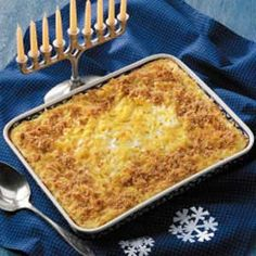 Add 2 tbsp pumpkin pie spice*** Noodle Kugel Recipe -I make this traditional dish along with other Jewish specialties for an annual Hanukkah/Christmas party with our friends. -Lauren Kargen Williamsville, New York Kosher Recipes, Cooking Recipes, What's Cooking, Egg Recipes, Healthy Recipes, Noodle Kugel Recipe, Hanukkah Food, Good Food, Yummy Food