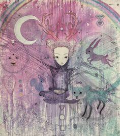 Autorský plakát od Lény Brauner Smír, 60 x 54 cm Amai, Origami, Moose Art, Night, Artwork, Pictures, Behr, Inspiration, Gray Color