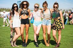 40+ Coachella Street Style Looks That Bring The Heat #refinery29  http://www.refinery29.com/2015/04/85205/coachella-2015-street-style-pictures#slide-2  Quintessential Coachella looks done up five ways: short hemlines, bare midriffs, and crop tops worth writing home about.