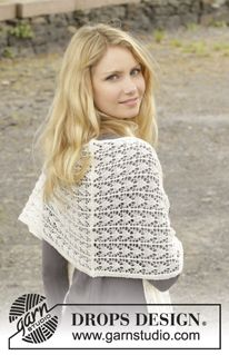 """Knitted DROPS shawl with lace pattern in """"Lace"""", """"Alpaca"""" or """"BabyAlpaca Silk"""". ~ DROPS Design"""