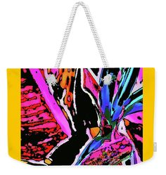 Pop Art Style .vibrant Dramatic.flower Foliage .colorful. Modern .flashy .colorful .pink .blue .black . Weekender Tote Bag featuring the digital art Bird Of Paradise by Expressionistartstudio Priscilla-Batzell