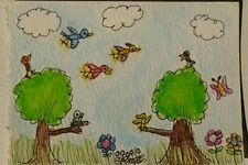 NFAC Bird Original ACEO Watercolor Ink Painting Whimsical Naive Art by 14-yr-old