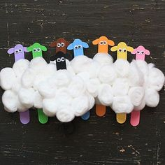 Click pic for 28 Spring Crafts for Kids - Craft Stick Flock of Sheep | Spring Craft Ideas for Preschoolers