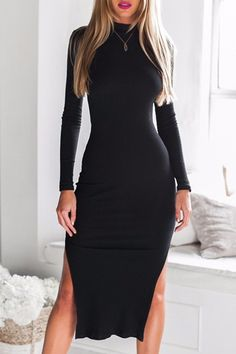 Stylish / Side Slit, Black Bodycon Dress.