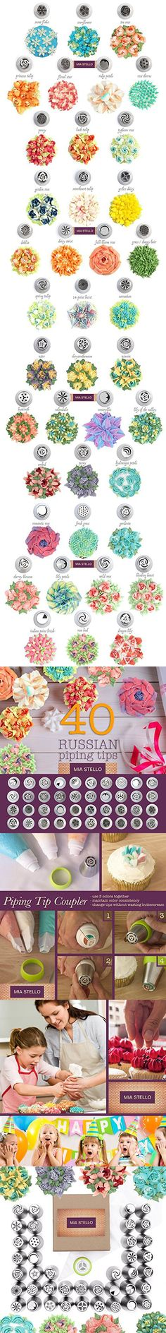 Russian Piping Tips, Bags and Coupler Set, 46 pieces, Cake, Cupcake, Cookies and Pastry Decoration, Latest Designs