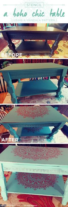Cutting Edge Stencils shares a teal and metallic copper stenciled and painted coffee table makeover using the Prosperity Mandala Stencil. http://www.cuttingedgestencils.com/prosperity-mandala-stencil-yoga-mandala-stencils-designs.html
