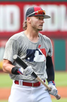 Cleveland Indians Josh Donaldson during batting practice before the game against the Kansas City Royals at Progressive Field. Baseball Players, Baseball Cards, Josh Donaldson, Toronto Blue Jays, Kansas City Royals, Cleveland Indians, Atlanta Braves, Major League, Athletes