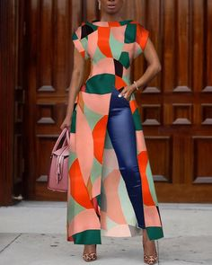 Colorblock Geo Print Slit Irregular Blouse trendiest dresses for any occasions, special event dresses, accessories and women clothing. African Attire, African Wear, African Dress, African Style, African Print Fashion, African Fashion Dresses, Fashion Prints, Trend Fashion, Fashion Outfits