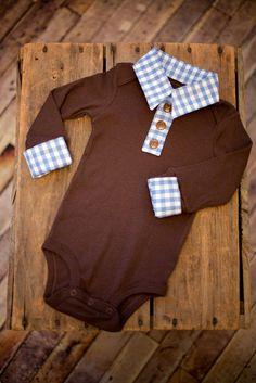 Preppy Baby Boy Layered Button Up Collar Onesie  $30.00, via Etsy.