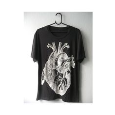 Heart Drawing Diagram Anatomy Rock Fashion Punk Goth T Shirt M ($15) via Polyvore featuring tops, t-shirts, rock tees, print tees, heart print t shirt, rock t shirts and heart print top