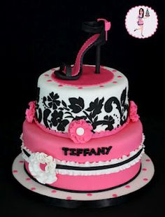 Black, Pink and White Jacquard & Blossoms Cake with Stiletto Topping (Tiffany)