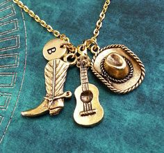 Cowboy Boot Hat Guitar Necklace Gold Guitar Charm by MetalSpeak. Yes yes YES!!!