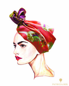 Cirque No.1 Scarf wrapped as a fashionable turban.  Available on: www.patriciarox.com