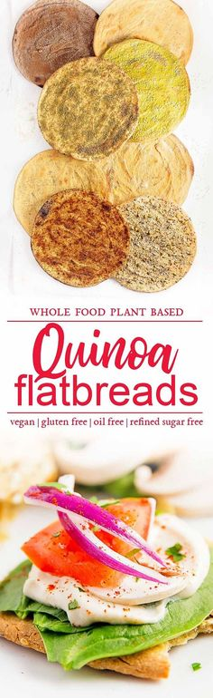 quinoa flatbreads vegan vegetarian whole food plant based gluten free recipe wfpb healthy oil free no refined sugar no oil refined sugar free dinner side side dish dairy free dinner party entertaining Raw Vegan Dinners, Healthy Dinner Recipes, Whole Food Recipes, Healthy Snacks, Cooking Recipes, Party Recipes, Vegan Snacks, Party Snacks, Whole Foods Vegan