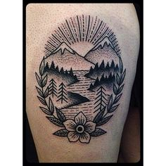 old school mountains tattoo - Google Search