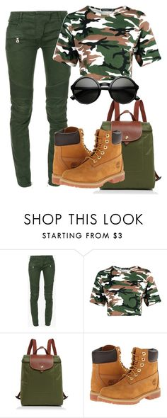 """""""HIGH"""" by abrionna ❤ liked on Polyvore featuring Balmain, Longchamp and Timberland"""