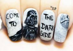 Star Wars ⎮ Darth Vader ⎮ Come to the Dark Side Nail Art. Handmade Fake Nails, False Nails, Press On Nails, Micropainting On Nails by StarryNail on Etsy