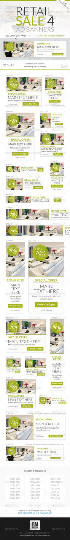 Buy Retail Sale 4 Web Ad Banners by bmdezzin on GraphicRiver. From original author of Retail Banners on GraphicRiver: Retail Sale 4 Web Banner Ads A collection of light, flat, cl. Banner Design Inspiration, Web Banner Design, Web Banners, Ad Design, Branding Design, Layout Design, Graphic Design, Environmental Graphics, Banner Template