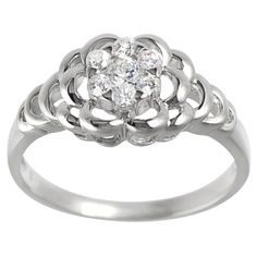 Journee Collection Sterling Silver CZ Bridal-style Flower Ring (Size- 9), Women's