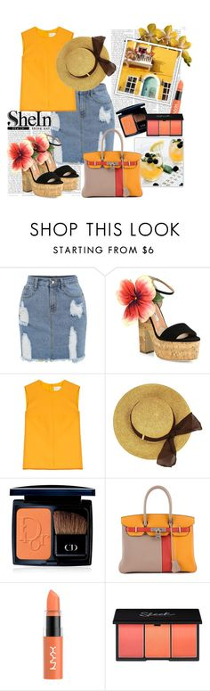 """""""Contest SheIn : Frayed Denim Pencil Skirt"""" by grgecivs ❤ liked on Polyvore featuring Brian Atwood, Victoria, Victoria Beckham, Christian Dior and Hermès"""