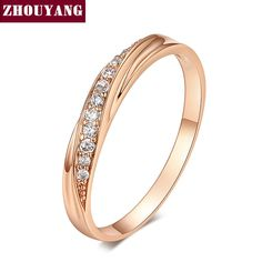 ZHOUYANG Top Quality Simple Cubic Zirconia Lovers Rose Gold Color Wedding Ring Jewelry Full Sizes Wholesale ZYR314 ZYR317  Price: 1.55 USD