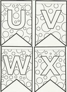 Letras do alfabeto bandeirinhas de Festa Junina para colorir e enfeitar a sala de aula! Alphabet Coloring Pages, Letter Recognition, Math For Kids, Monogram Letters, Alphabet Letters, Hand Lettering, Diy And Crafts, Applique, Banner
