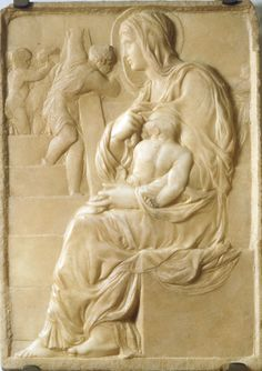 The Madonna of the Stairs (or Madonna of the Steps) is a relief sculpture by Michelangelo in the Casa Buonarroti, Florence. It was sculpted around when Michelangelo was about seventeen. Renaissance Artists, Italian Renaissance, Images Du Christ, Madonna, La Madone, Giorgio Vasari, Italian Sculptors, Famous Art, Renaissance