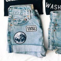 Shorts: cuffed denim denim denim patch patch moon 90s style