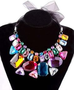 WHOLESALE FASHION JEWELRY ACCESSORIES NEW DESIGN WOMEN LUXURY BIB STATEMENT CRYSTAL MIXED COLOUR RIBBON NECKLACE COLLAR HOT