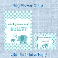 Guess How Big is Mommy's Belly Printable  Baby Shower Game. Such a great game to play at your shower. #guessmommysbellysize #babyshowergames #elephantbabyshower #2rabbitsprintenjoy #etsyshop