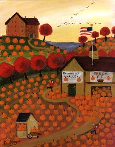 Trademark Fine Art Cheryl Bartley 'Valley And Homemade Pie' Canvas Art Farm Paintings, Indian Paintings, Abstract Paintings, Best Pumpkin Patches, Autumn Illustration, Primitive Folk Art, Arte Popular, Naive Art, Autumn Art