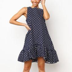 Summer Dot Printed A-Line Ruffle Mini Dress Tall Girl Fashion, Fashion For Petite Women, Womens Fashion, Basic Outfits, Plus Size Outfits, Plus Size Fashionista, Dress Brands, Fashion Outfits, Outdoor Activities