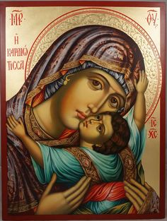 High quality hand-painted Orthodox icon of Panagia Kardiotissa (halo relief). BlessedMart offers Religious icons in old Byzantine, Greek, Russian and Catholic style. Orthodox Catholic, Russian Orthodox, Roman Catholic, Spiritual Paintings, Religious Paintings, Byzantine Icons, Byzantine Art, Religious Icons, Religious Art