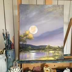 """In honour of today's #fullmoon Day 10: """"Strawberry Moonshine"""" 16x20"""" acrylic on canvas. $355 CAD (includes shipping to USA and Canada). If this painting is for you write """"sold"""" in the comments below and DM me your mailing address and email for a PayPal invoice ❤️ Thank you from the bottom of my heart for supporting this project and cause ❤️🌹🙏🏻 50% going to alianzaarkana.org, check website for more info on this amazing nonprofit organization ❤️ • Ps. Check out my IG stories for close ups…"""