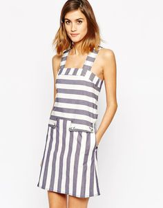 See by Chloe | See by Chloe Pinafore Dress in Prison Stripe at ASOS